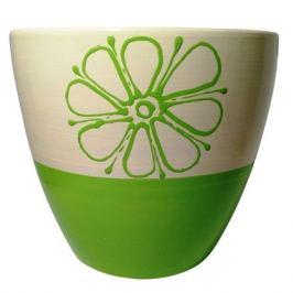 горшок керамический с поддоном Цветок, 1,4 л, бежево-зеленый