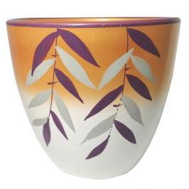 горшок керамический с поддоном Листочки, 2,4 л, бело-оранжевый