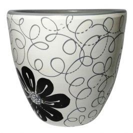 горшок керамический с поддоном Цветок, 4,7 л, черно-белый