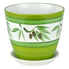 горшок керамический Бутон оливки, диаметр 18 см, 3,8 л, цвета белый, зеленый