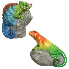 фигура садовая Хамелеон на камне 15см