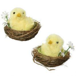 фигура декоративная Цыплёнок с ромашкой в гнезде 8см в асс-те