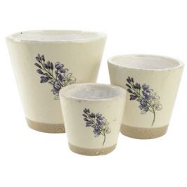 кашпо керамическое Цветок 11х10см белый/сиреневый