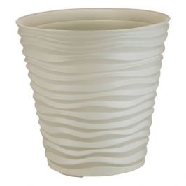 кашпо Дюна, диаметр 25 см, высота 24 см, 8,5 л, пластик, кремовый