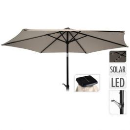 зонт садовый с подсветкой d270см 24 LED бежевый полиэстер