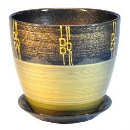 горшок керамический Бутон Ритм, диаметр 15 см, 2 л, бронза