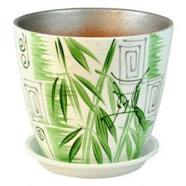 горшок керамический Бутон Бамбук люкс, диаметр 18 см, 3,8 л, цвета белый, зеленый