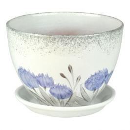 горшок керамический Венеция, роспись, диаметр 19 см, 2,4 л, цвета белый, голубой