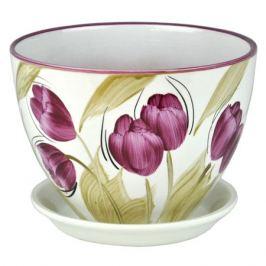 горшок керамический Венеция Тюльпаны, диаметр 16 см, 1,4 л, цвета белый, сиреневый