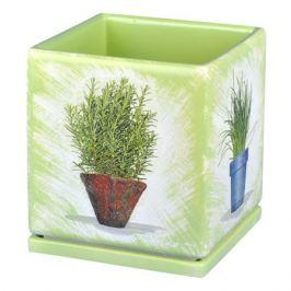 горшок керамический Кубик 20х20 см, 4 л, бело-салатовый с цветком