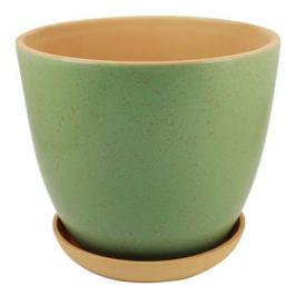 горшок керамический с поддоном ColorLife, диаметр 14 см, 1 л, зеленый