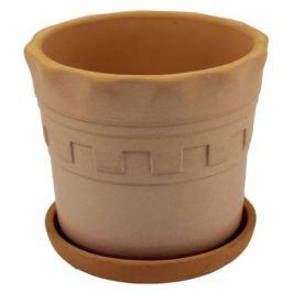 горшок керамический с поддоном Антик, диаметр 11 см, 0,7 л, серо-коричневый