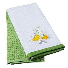 комплект полотенец кухонных TAC махр. с вышивкой Цыплята 40х60см 2шт белый/зеленый, арт.5012-39259