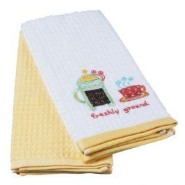 комплект полотенец кухонных TAC махр. с вышивкой Кофе 40х60см 2шт белый/желтый, арт.5012-39273