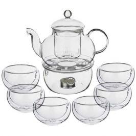 набор чайный AGNESS 6/7 чайник 800мл, 6 чашек 60мл стекло