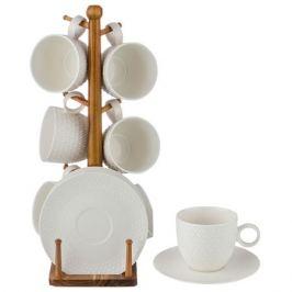набор чайный LEFARD 6/12 250мл на деревянной подставке фарфор