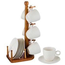 набор кофейный LEFARD 6/12 100мл на деревянной подставке фарфор