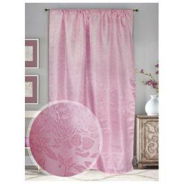штора портьерная на шт.ленте AMORE MIO жаккард 145х270см розовая, арт.10355