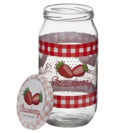 банка д/консервирования HEREVIN Strawberry 1л стекло с метал. крышкой