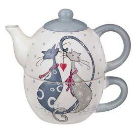 набор чайный LEFARD Cat's love 1/2: чайник 380мл. чашка 350мл керамика