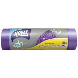 пакеты д/мусора NOVAX Plus 35л 50х55см 16мкм 15шт. с завязками
