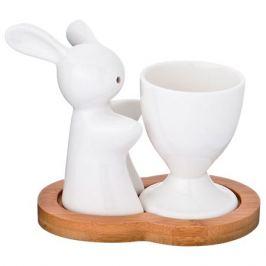 подставка д/яйца LEFARD Кролик с солонкой фарфор/бамбук