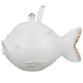 икорница LEFARD Рыбка 15х10х8см с ложкой фарфор