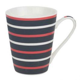кружка Полоска красно-белая на черном 300мл фарфор