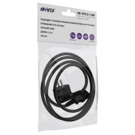 кабель с вилкой HIPER для компьютера 3х0,5мм 1,5м 6А 220Вт черный