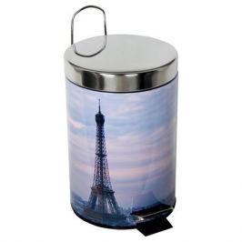 контейнер для мусора РЫЖИЙ КОТ Париж, 3 л, с педалью, нержавеющая сталь, пластик, круглый, цвет декор