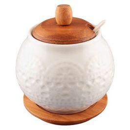 сахарница Белый узор 600мл керамика/дерево