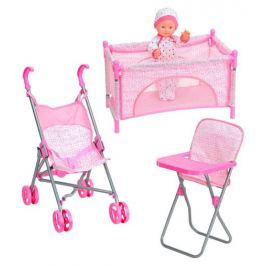 Набор пупс с мебелью ONE TWO FUN, розовый
