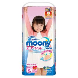 Подгузники-трусики Moony Man для девочек XL (12-17 кг), 38 шт
