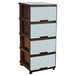 Комод пластиковый «Полоски голубые», 4 ящика, темно-коричневый