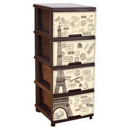 Комод пластиковый 4 ящика с декором «Париж» темно-коричневый