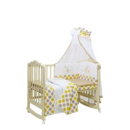 Комплект в кроватку Polini kids Disney, Медвежонок Винни и его друзья, 7 предметов, макиато-желтый