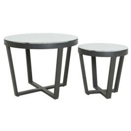 Набор из 2 столикок «Малага», серый, закаленное стекло/ алюминий