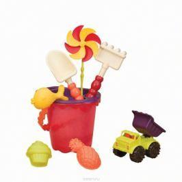 B.Summer Ведерко малое и игровой набор для песка Sands Ahoy! 9 предметов цвет красный