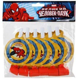 Веселая затея Язык-гудок с карточкой Великий Человек-паук 6 шт