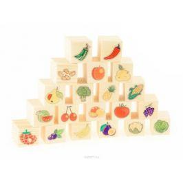 Развивающие деревянные игрушки Кубики Овощи-фрукты