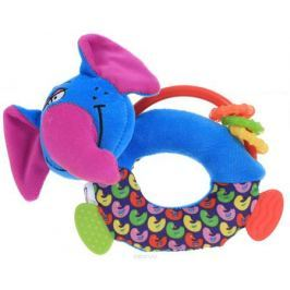 Bondibon Мягкая игрушка-погремушка Слон-пищалка с прорезывателями