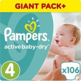 Pampers Подгузники Active Baby-Dry 8-16 кг (размер 4) 106 шт