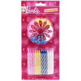 Веселый праздник Набор свечей для торта с держателями Barbie 24 шт