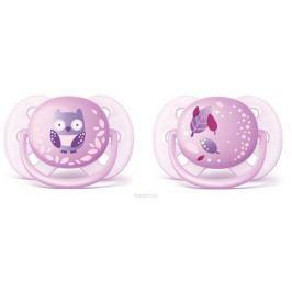 Philips Avent Пустышка силиконовая ортодонтическая Ultra Soft для девочек от 0 до 6 месяцев 2 шт SCF227/20