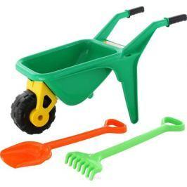 Полесье Набор игрушек для песочницы Тачка Садовод с лопатой и граблями цвет зеленый