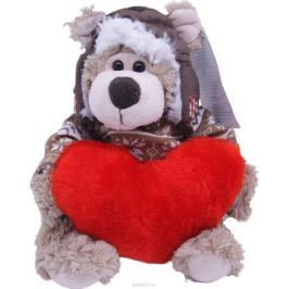 Magic Bear Toys Мягкая игрушка Мишка Рэймонд в шапке-ушанке и свитере с сердцем 20 см