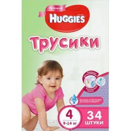 Huggies Подгузники-трусики для девочек 9-14 кг (размер 4) 34 шт
