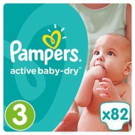 Pampers Подгузники Active Baby-Dry 5-9 кг (размер 3) 82 шт Подгузники и пеленки