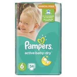 Pampers Подгузники Active Baby-Dry от 15 кг (размер 6) 54 шт Подгузники и пеленки