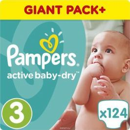 Pampers Подгузники Active Baby-Dry 5-9 кг (размер 3) 124 шт